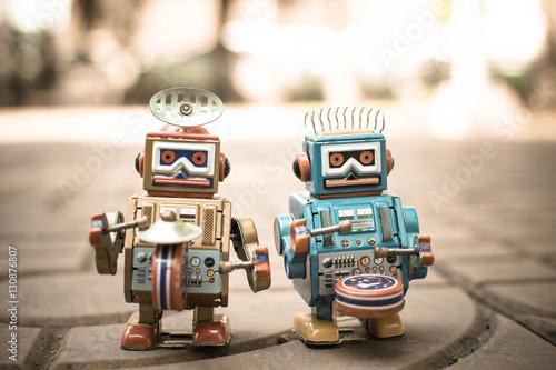 Poster Old robot toy, vintage color style, vintage tone background.