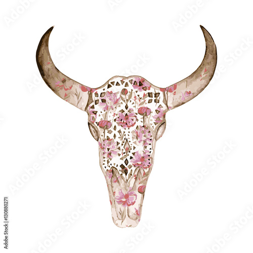 Watercolor  skull with peony pattern. Decoration motif for tatto - 130880271