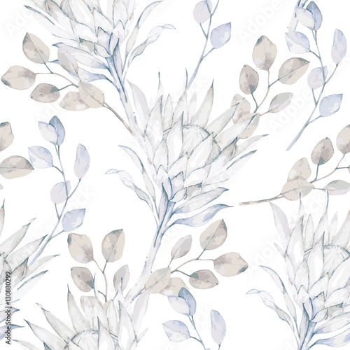 Watercolor branches african protea and eucalyptus leaves pattern. Vector illustration - 130880299