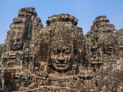 Face of Bodhisattva Loki State Ice King at Bayon Temple, Cambodi Poster