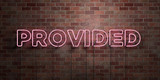 PROVIDED - fluorescent Neon tube Sign on brickwork - Front view - 3D rendered royalty free stock picture. Can be used for online banner ads and direct mailers..