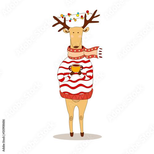 Fotobehang Hipster Hert Christmas deer. Happy New Year. Reindeer