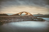 Picturesque Norway sea landscape with bridge