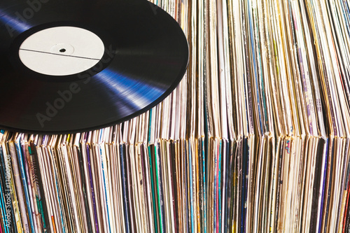 Poster Vinyl record on a collection of albums
