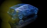 Transparent blue wire frame electric car. Back view. 3d render