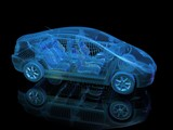 3d render of blue electric car with yellow glowing battery. Side view