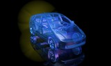 3d render of blue electric car with yellow glowing battery. Front  view