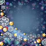 Christmas blue background with baubles. EPS 10