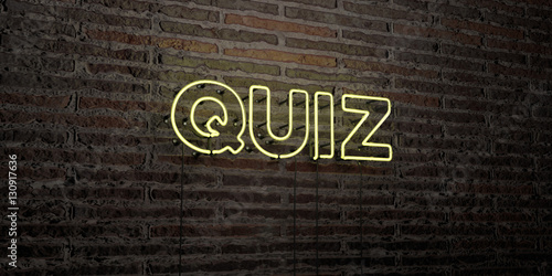 QUIZ -Realistic Neon Sign on Brick Wall background - 3D rendered royalty free stock image. Can be used for online banner ads and direct mailers..