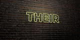THEIR -Realistic Neon Sign on Brick Wall background - 3D rendered royalty free stock image. Can be used for online banner ads and direct mailers..