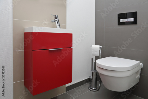 coin wc design avec meuble lavabo rouge poster sold at