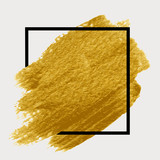 Gold paint in black square. Brush strokes for the background of poster. - 130935886