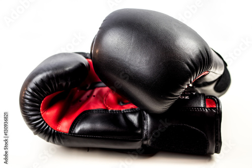 Poster Black and Red Boxing Gloves on white background