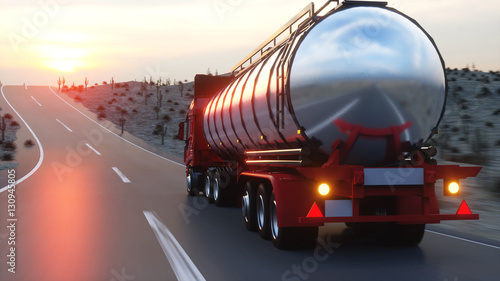 Fototapeta Gasoline tanker, Oil trailer, truck on highway. Very fast driving. 3d rendering.