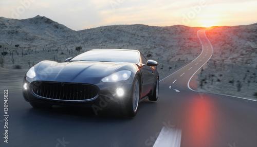 Czarny sportowy samochód na drodze, autostrada. Bardzo szybka jazda. 3d rendering.