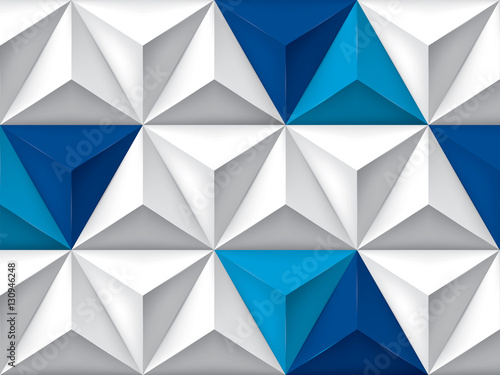 Fototapeta Vector triangles retro background, blue color inserts, mesh gradient, geometric wallpaper, gray pattern