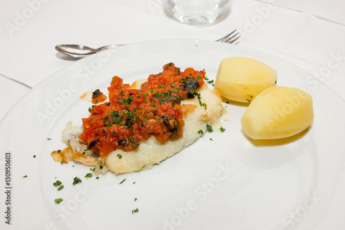 Poster John Dory with potatoes and tomato