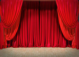 Act drape with red curtains - 130953807