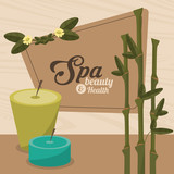 spa beauty and health aroma candles with bamboo vector illustration eps 10