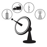 dish antenna transmitter wireless vector illustration eps 10