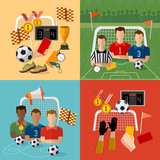 Soccer icon set, football team, signs and symbols soccer