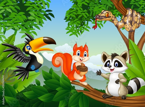 Fotobehang Zoo Cartoon forest scene with different animals