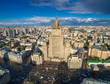Aerial view on the Russian Ministry of foreign affairs. Arbat street and other Moscow centre streets view from the top.