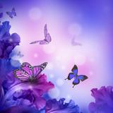 Amazing butterfly fairy of flowers, hydrangeas and iris. - 130972000