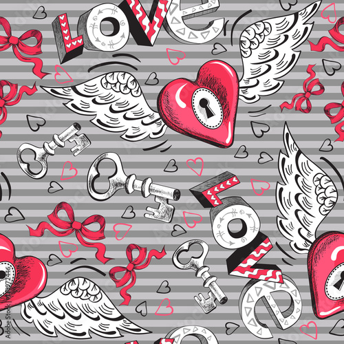 Cotton fabric Valentine's Day winged heart seamless pattern
