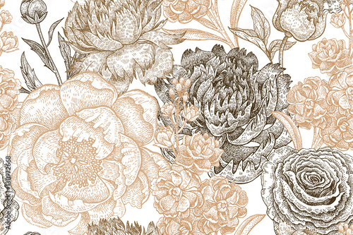 Seamless pattern with peony flowers. - 130972668