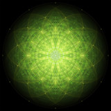 complex green geometric mandala on black background, sacred geometry, flower of life and atom, vector