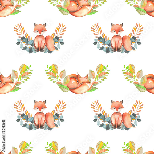 Cotton fabric Seamless pattern with watercolor foxes and forest plants, hand drawn isolated on a white background