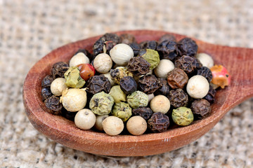 Colorful peppercorns in a spoon