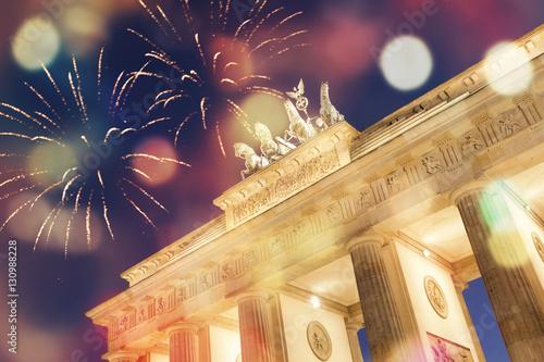 Poster Feuerwerk am Brandenburger Tor in Berlin
