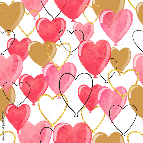 Cotton fabric Watercolor heart balloons seamless pattern. Valentines day romantic vector background.