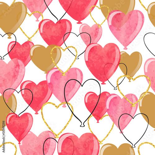 Materiał do szycia Akwarele serca balony jednolity wzór. Tło wektor Romantyczne Walentynki.