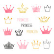 Set of doodle sketch watercolor crowns for your design. Vector illustration.