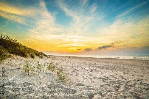 Sand dunes against the sunset light on the beach in northern Poland Poster