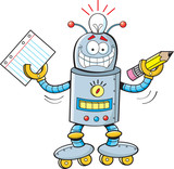 Cartoon  A Robot Holding A Paper And Pencil Wall Sticker