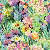 Watercolor blooming cactus background - 131010008