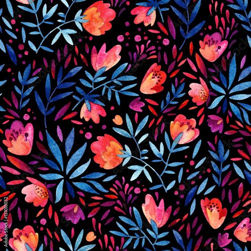 Cotton fabric Watercolor ornate flowers seamless pattern.