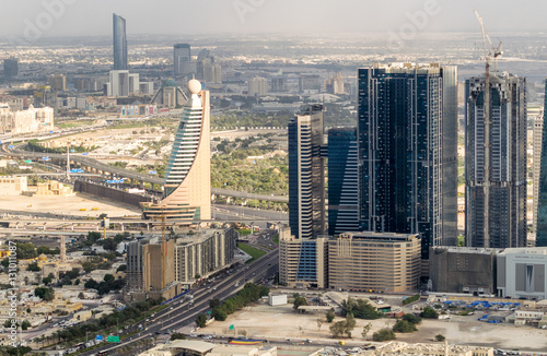 Modern skyline of Dubai, aerial view Poster