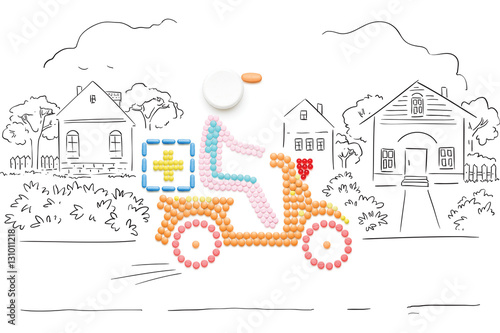 Poster Help in road / Creative medicine and healthcare concept made of pills, drugs motorbike delivery, on sketchy country background
