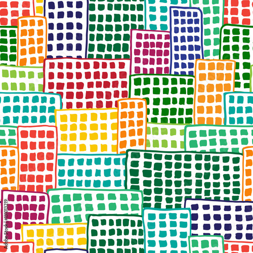 Multicolored blocks of flats, seamless vector pattern - 131013219