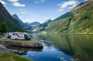 Camping at Geiranger fjord, Norway.