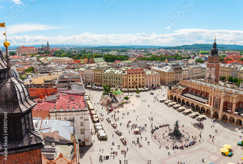 Aerial view on the central square and Sukiennice in Krakow. Market Square from the tower of the church of St. Mary. Poland. Cloth Hall. © LALSSTOCK