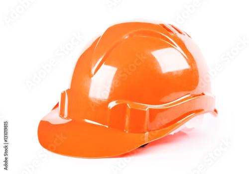Poster Construction orange helmet isolated on white background