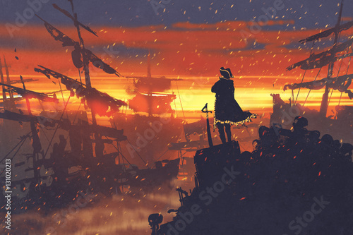 Papiers peints Orange eclat pirate standing on treasure pile against ruined ships at sunset,illustration painting
