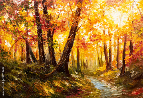 Fotobehang Honing Oil painting landscape - autumn forest near the river, orange leaves