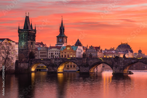 Poster Charles Bridge in Prague with nice sunset sky in background, Czech Republic